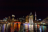 Queen's Wharf, waterfront (with Sky Tower behind), Auckland, New Zealand