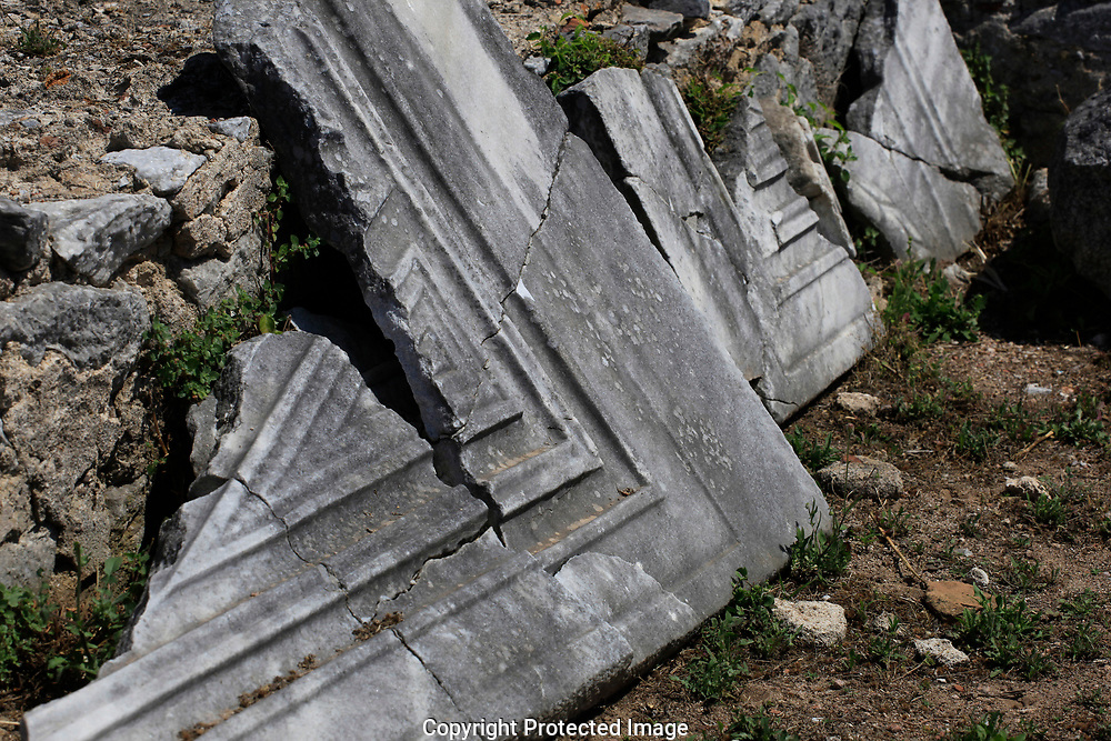 A door frame in Philippi near  Kavalla, Greece. <br /><br />Photo by Dennis Brack