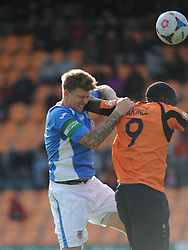 Eastleighs Dean Beckworth Gets an Elbow from Barnets John Akinde, Barnet v Eastleigh, Vanarama Conference, Saturday 4th October 2014