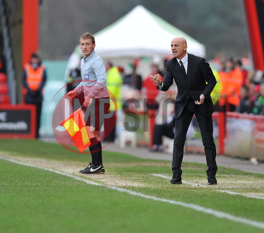 Watford Manager, Giuseppe Sannino gives his players directions on the touchline. - Photo mandatory by-line: Alex James/JMP - Tel: Mobile: 07966 386802 18/01/2014 - SPORT - FOOTBALL - Goldsands Stadium - Bournemouth - Bournemouth v Watford - Sky Bet Championship