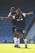 Picture by David Horn/Focus Images Ltd +44 7545 970036.08/09/2012.Britt Assombalonga (r) of Southend United celebrates scoring his second goal with team mate Gavin Tomlin (l) during the npower League 2 match at Roots Hall, Southend.