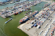 Nederland, Zuid-Holland, Rotterdam, 10-06-2015;  Waalhaven (WestZijde). Uniport Multipurpose Terminals container terminal in de voorgrond.<br /> Waal harbour (West side).<br /> luchtfoto (toeslag op standard tarieven);<br /> aerial photo (additional fee required);<br /> copyright foto/photo Siebe Swart