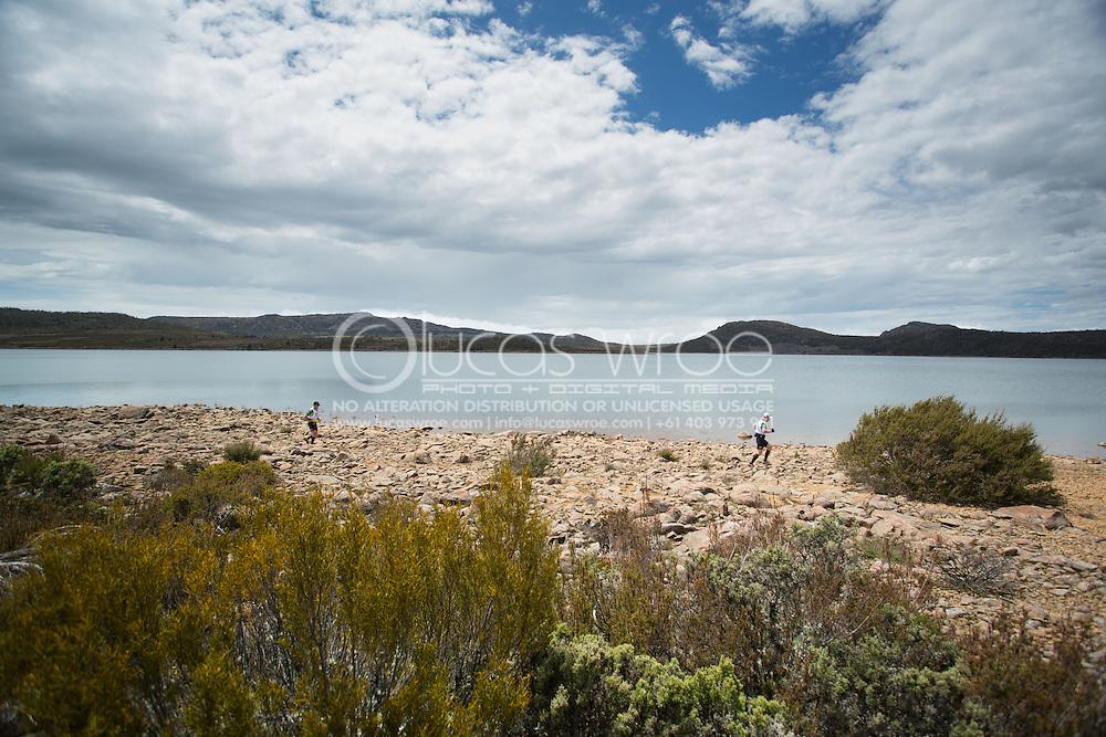 Team Europcar VIC (Glen Christiansen and Scott Allen). Transition 2 Lake MacKenzie. Adventure Racing. Swisse Mark Webber Challenge 2013. Tasmania, Australia. 26/11/2013. Photo By Lucas Wroe