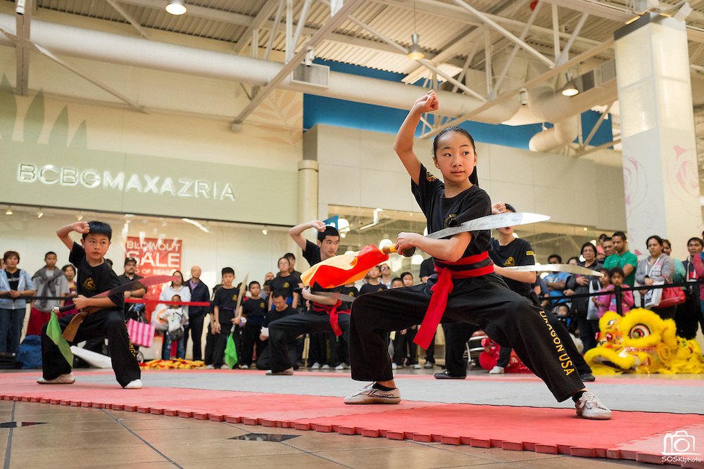 KungFu Dragon USA students perform during the Lunar New Year Dragon dance at the Great Mall of the Bay Area in Milpitas, California, on February 21, 2015. (Stan Olszewski/SOSKIphoto)
