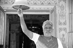 India, Bikaner, 1999. Mania Maharaj is a thirty-second generation Jain priest. Bhandasar, his temple in Bikaner, was built of Jaisalmeri sandstone quarried hundreds of miles away.
