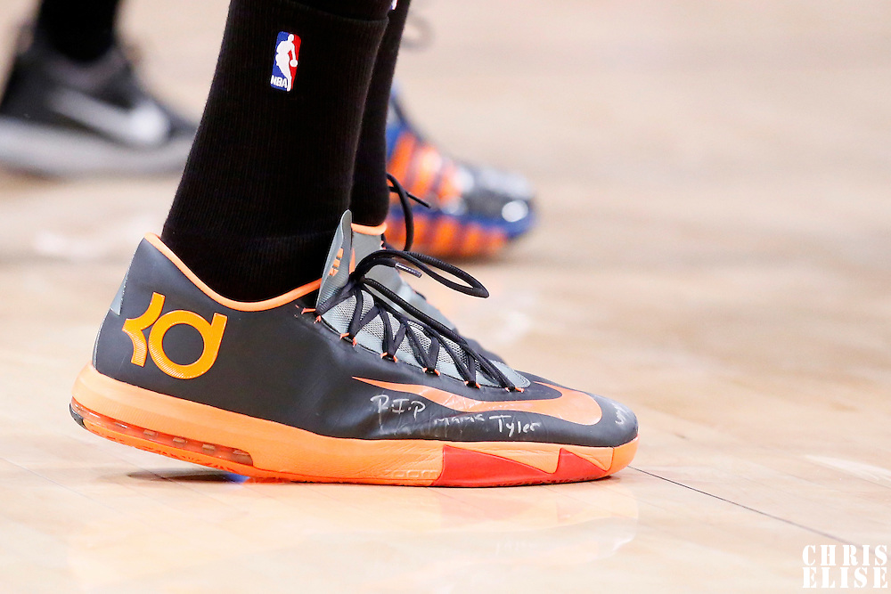09 March 2014: Close view of Oklahoma City Thunder small forward Kevin Durant (35) Nike shoes during the Los Angeles Lakers 114-110 victory over the Oklahoma City Thunder at the Staples Center, Los Angeles, California, USA.