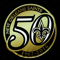 Sep 11, 2016; New Orleans, LA, USA;  A detail of the 50th anniversary logo of the New Orleans Saints displayed on a wall before a game against the Oakland Raiders at the Mercedes-Benz Superdome. Mandatory Credit: Derick E. Hingle-USA TODAY Sports
