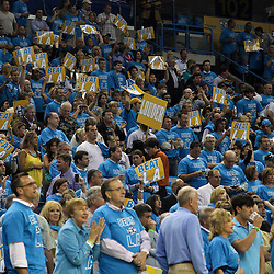 April 28, 2011; New Orleans, LA, USA; New Orleans Hornets fans cheer during the first quarter in game six of the first round of the 2011 NBA playoffs against the Los Angeles Lakers at the New Orleans Arena.    Mandatory Credit: Derick E. Hingle