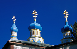 Old Town Kenai, AK:  Onion dome steeples top the Holy Assumption of the Virgin Mary Russian Orthodox Church.  Built in 1894, it is a national historic landmark.
