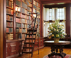Library stairway ladder in mansion home