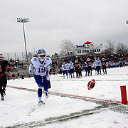 Griffin Ross, Darien, drops a pass in the end zone during the New Canaan Rams Vs Darien Blue Wave, CIAC Football Championship Class L Final at Boyle Stadium, Stamford. The New Canaan Rams won the match in snowy conditions 44-12. Stamford,  Connecticut, USA. 14th December 2013. Photo Tim Clayton