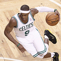 07 June 2012: Boston Celtics point guard Rajon Rondo (9) drives to the basket during first half of Game 6 of the Eastern Conference Finals playoff series, Heat at Celtics at the TD Banknorth Garden, Boston, Massachusetts, USA.