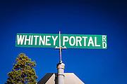 Whitney Portal road sign, Lone Pine, California USA