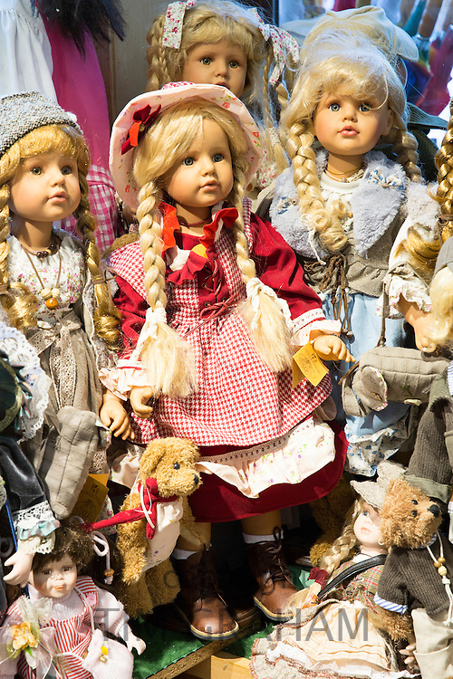 Traditional dolls and teddies on sale in Geschenkehaus shop in the town of Seefeld in the Tyrol, Austria
