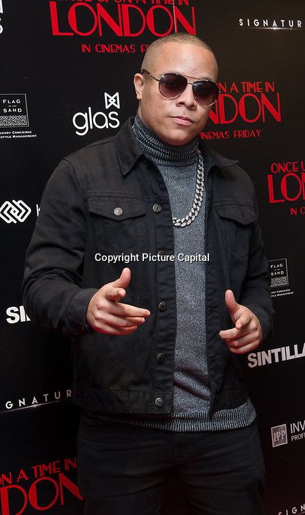 DJ Ironik  Arrivers at Once Upon a Time in London - London premiere of the rise and fall of a nationwide criminal empire that paved the way for notorious London gangsters the Kray Twins and the Richardsons at The Troxy 490 Commercial Road, on 15 April 2019, London, UK.