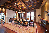 Dining room with wood beamed ceiling