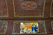 Painted murals on the rustic wood ceiling of the Janitzio Church on Janitzio Island, Michoacan, Mexico.