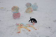 A pet fog plays near inventively coloured snowpeople and a cat, moulded in ice on the ground of a local park. During a prolonged cold spell of bad weather, snow fell continuously on the capital days before, allowing families the chance to enjoy the bleak conditions in Ruskin Park in the borough of Lambeth.