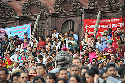 September 15, 2016 - Kathmandu, Nepal - Thousands of Nepalese devotees observing the festival on the third day of Indra Jatra Festival celebrated at Basantapur Durbar Square, Kathmandu. Devotees celebrated the god of rain 'Indra' for 8 days in Kathmandu. (Credit Image: © Narayan Maharjan/Pacific Press via ZUMA Wire)