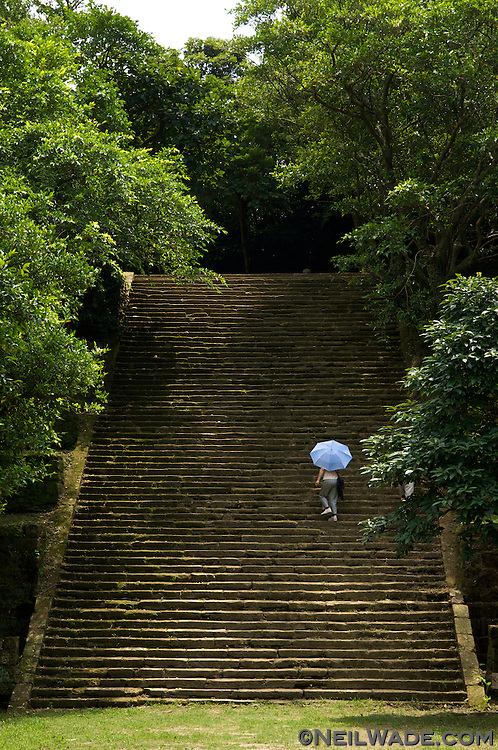 The main staircase accessing the military camp site at Ershawan Fort (?????) Keelung, Taiwan (?????).