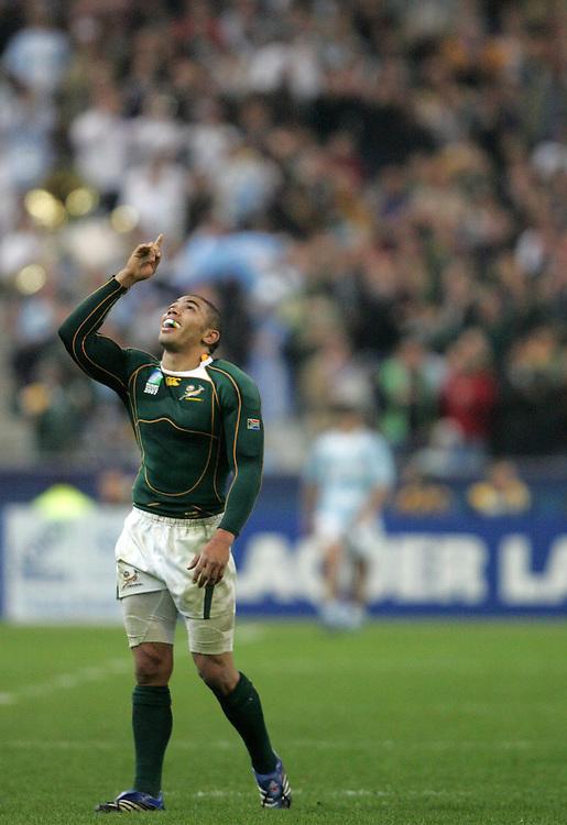 Brian Habana celebrates after scoring a try. BrSouth Africa v Argentina, Semi Final, IRB Rugby World Cup 2007, Stade De France, St Denis, France, 14th October 2007.