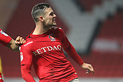 GOAL Jake Forster-Caskey celebrates scoring 1-1 during the EFL Sky Bet League 1 match between Charlton Athletic and Rochdale at The Valley, London, England on 21 November 2017. Photo by Daniel Youngs.
