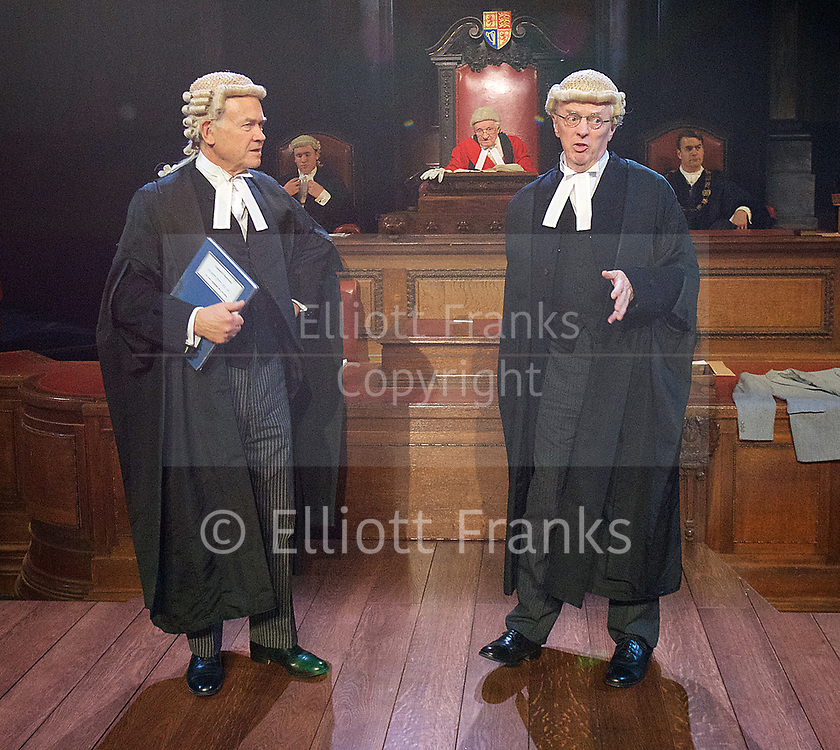 Witness for the Prosecution by Agatha Christie <br /> at London County Hall, Southbank, London, Great Britain <br /> press photocall <br /> 20th October 2017 <br /> <br /> directed by Lucy Bailey <br /> <br /> <br /> <br /> David Yelland as Sir Wilfrid Robarts <br /> <br /> Philip Franks as Mr Myers QC <br /> <br /> <br /> <br /> <br /> Photograph by Elliott Franks <br /> Image licensed to Elliott Franks Photography Services