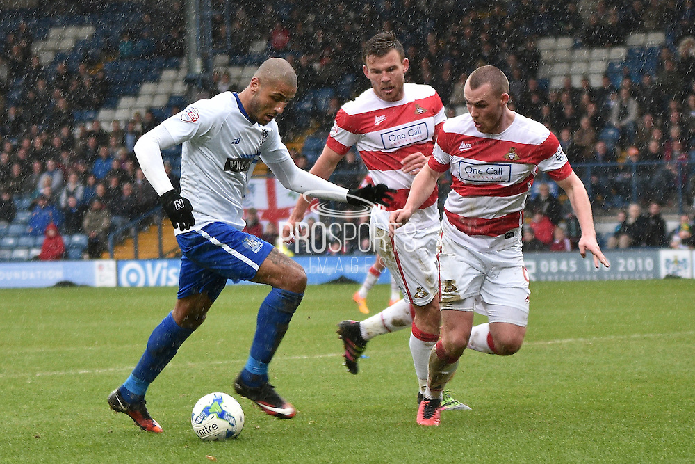 Bury Forward, Leon Clarke on teh ball during the Sky Bet League 1 match between Bury and Doncaster Rovers at the JD Stadium, Bury, England on 9 April 2016. Photo by Mark Pollitt.