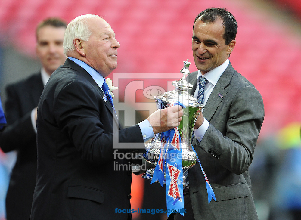 Picture by Andrew Timms/Focus Images Ltd +44 7917 236526.11/05/2013.Dave Whelan & Roberto Martinez of Wigan Athletic celebrate winning The FA Cup Final against Manchester City at Wembley Stadium, London.