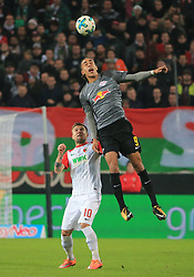 20170919, 1.BL. FCA vs RB Leipzig, 1.Bundesliga, WWK Arena Augsburg, Fussball, Sport, im Bild:..Daniel Baier (FC Augsburg) vs Yussuf Poulsen (RB Leipzig)...*Copyright by:  Philippe Ruiz..Postbank Muenchen.IBAN: DE91 7001 0080 0622 5428 08..Oberbrunner Strasse 2.81475 MŸnchen, .Tel: 089 745 82 22, .Mobil: 0177 29 39 408..( MAIL:  philippe_ruiz@gmx.de ) ..Homepage: www.sportpressefoto-ruiz.de. (Credit Image: © Philippe Ruiz/Xinhua via ZUMA Wire)