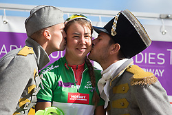 Anouska Koster (NED) of Rabo-Liv Cycling Team celebrates winning the best sprinter's green jersey after the 117,5 km third stage of the 2016 Ladies' Tour of Norway women's road cycling race on August 13, 2016 between Svinesund, Sweden and Halden, Norway. (Photo by Balint Hamvas/Velofocus)