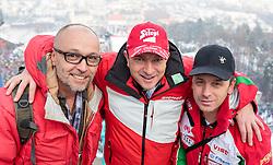 03.01.2016, Bergisel Schanze, Innsbruck, AUT, FIS Weltcup Ski Sprung, Vierschanzentournee, Probedurchgang, im Bild v.l.: Thomas Pointner, Trainer Alexander Pointner (BUL) und Emil Zografski (BUL) // f.l.: Thomas Pointner, Austrian Coach Alexander Pointner of Bulgaria and Coach Emil Zografski of Bulgaria before the Trial Jump for the Four Hills Tournament of FIS Ski Jumping World Cup at the Bergisel Schanze, Innsbruck, Austria on 2016/01/03. EXPA Pictures © 2016, PhotoCredit: EXPA/ JFK