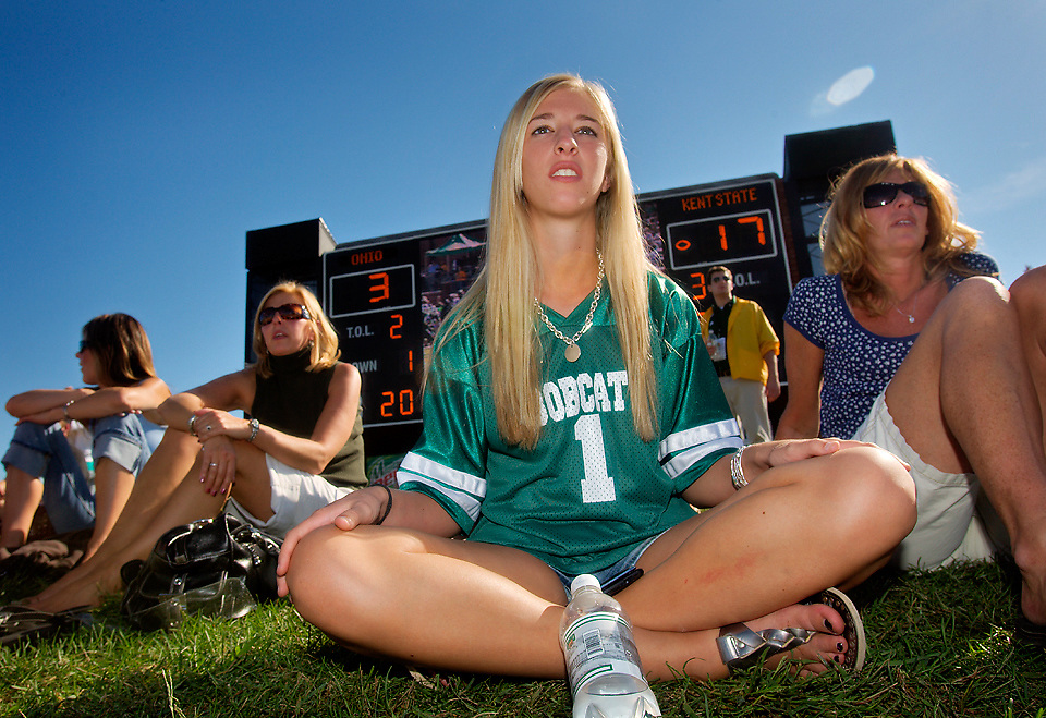 Photo by Kevin Riddell.Freshman Jackie Dancheck watches the Ohio University football game in Peden Stadium against  Kent State on Saturday, September 29, 2007.