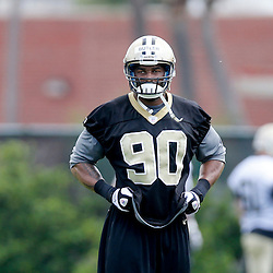 May 23, 2013; New Orleans, LA, USA; New Orleans Saints linebacker Victor Butler (90) during organized team activities at the Saints training facility. Mandatory Credit: Derick E. Hingle-USA TODAY Sports1