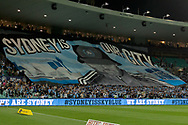 SYDNEY, AUSTRALIA - OCTOBER 27: Sydney FC fans in the Cove display a tifo before kick off at The Hyundai A-League Round 1 soccer match between Sydney FC and Western Sydney Wanderers FC The Sydney Cricket Ground in Sydney on October 27, 2018. (Photo by Speed Media/Icon Sportswire)