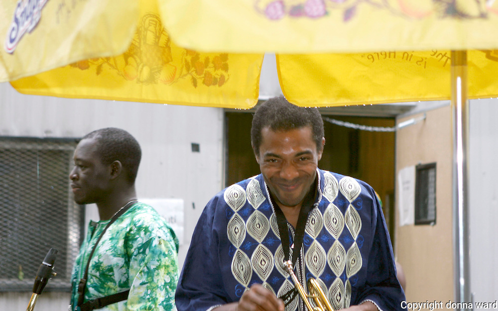 Musician Femi Kuti poses backstage as Giant Step celebrates its 15th Anniversary at Central Park SummerStage on July 17, 2005.