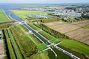Nederland, Friesland, Gemeente Lemsterland, 10-10-2014; Lemmer, <br /> Prinses Margrietsluis, sluis in het Prinses Margrietkanaal. Vaarroute Lemmer-Delfzijl.<br /> luchtfoto (toeslag op standard tarieven);<br /> aerial photo (additional fee required);<br /> copyright foto/photo Siebe Swart