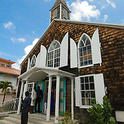Sunday worship services ending at local church in Philipsburg, on the Dutch side of Saint Martin