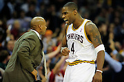 Feb. 11, 2011; Cleveland, OH, USA; Cleveland Cavaliers power forward Antawn Jamison (4) Celebrates after scoring during overtime against the Los Angeles Clippers at Quicken Loans Arena. The Cavaliers broke their loosing streak beating the Clipper 126-119 in overtime. Mandatory Credit: Jason Miller-US PRESSWIRE