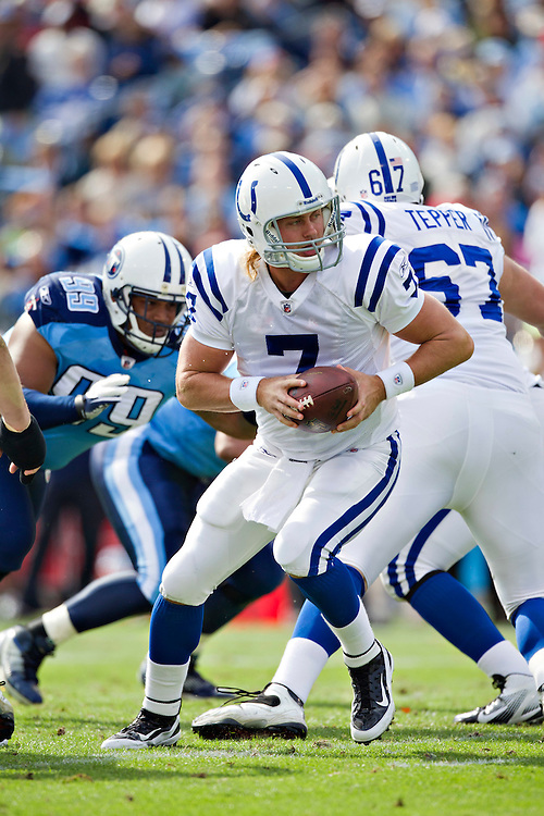 NASHVILLE, TN - OCTOBER 30:  Quarterback Curtis Painter #7 of the Indianapolis Colts drops back to make a handoff during a game against the Tennessee Titans at the LP Field on October 30, 2011 in Nashville, Tennessee.  The Titans defeated the Colts 27 to 10.  (Photo by Wesley Hitt/Getty Images) *** Local Caption *** Curtis Painter