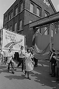 Peoples March for Jobs 83 being greeted by the workers at GEC Traction, Sheffield.