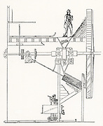 Steam-powered ore crush at a metalliferous mine, Cornwall, England.  Ore fed in at the top and processed through crushers and discharged into a rail wagon at the bottom. From 'The Playbook of Metals' by John Henry Pepper (London, 1862).