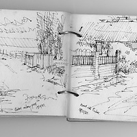 Sketchbook drawing of Pinhoe in Devon, England.
