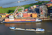 Nederland, Gelderland, Nijmegen, 24-10-2013. Noordkanaalhaven, gelegen aan de kruising van de Waal en het Maas-Waalkanaal. Containerterminal en overslag van kolen.<br /> <br /> Port in Nijmegen (central Netherlands), container terminal and transshipment of coal . The river Waal.<br /> <br /> luchtfoto (toeslag op standaard tarieven);<br /> aerial photo (additional fee required);<br /> copyright foto/photo Siebe Swart.