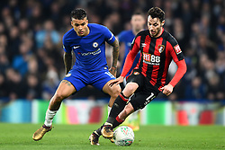 December 20, 2017 - London, England, United Kingdom - Bournemouth's Adam Smith is watched closely by Chelsea Midfielder Kenedy during the Carabao Cup Quarter - Final match between Chelsea and AFC Bournemouth at Stamford Bridge, London, England on 20 Dec 2017. (Credit Image: © Kieran Galvin/NurPhoto via ZUMA Press)