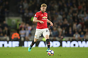 Manchester United Defender Luke Shaw during the Premier League match between Brighton and Hove Albion and Manchester United at the American Express Community Stadium, Brighton and Hove, England on 4 May 2018. Picture by Phil Duncan.