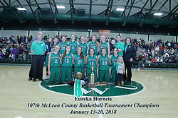 20 January 2018: Eureka Hornets b Lexington Minutemen. IHSA Girls Basketball game during the McLean County Tournament at Shirk Center in Bloomington Illinois