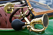 Bulb horn on vintage 1912 Renault car, Gloucestershire, United Kingdom