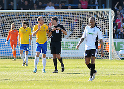 Bristol Rovers' Mark McCrystal argues with the referee after Dover got a late equaliser - Photo mandatory by-line: Neil Brookman/JMP - Mobile: 07966 386802 - 18/04/2015 - SPORT - Football - Dover - Crabble Athletic Ground - Dover Athletic v Bristol Rovers - Vanarama Football Conference