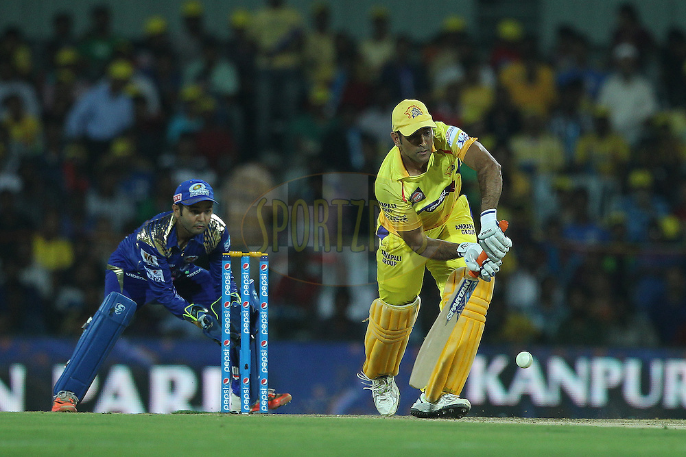 MS Dhoni captain of the Chennai Superkings  during match 43 of the Pepsi IPL 2015 (Indian Premier League) between The Chennai Superkings and The Mumbai Indians held at the M. A. Chidambaram Stadium, Chennai Stadium in Chennai, India on the 8th May April 2015.<br /> <br /> Photo by:  Ron Gaunt / SPORTZPICS / IPL